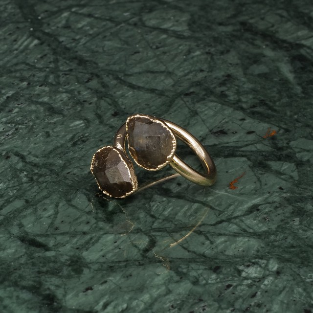 DOUBLE STONE OPEN RING GOLD 031
