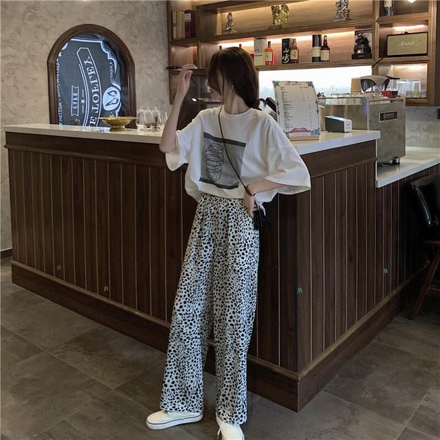 ロゴTシャツ+レオパード柄ワイドパンツ S1778