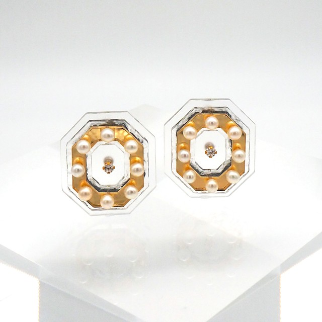 OLIVIA  LAYER MIRROR EARRINGS    (CLEAR/GOLD ピアス)