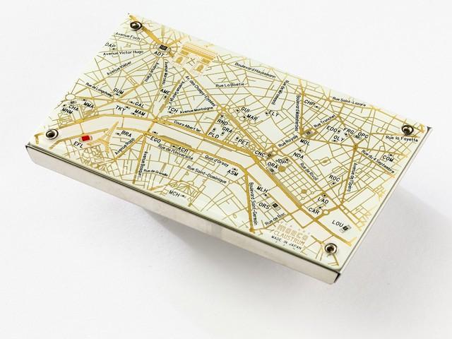 Paris回路地図 名刺入れ  白 【名入れ無料サービス実施中】