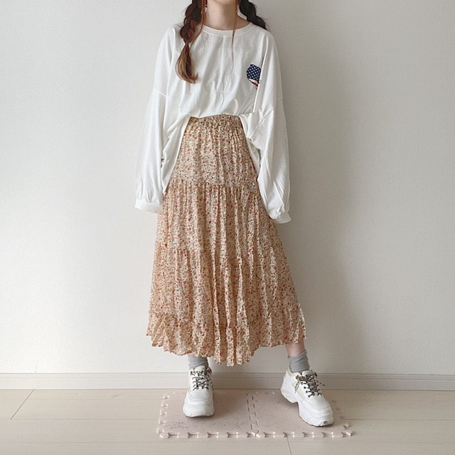 flower pleats skirt[2102-4]