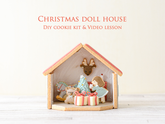 """Christmas dollhouse"" DIY cookie kit & video lesson"