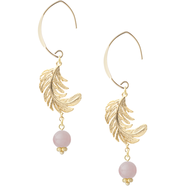 Gold feather earing -light pink- (ピアス)