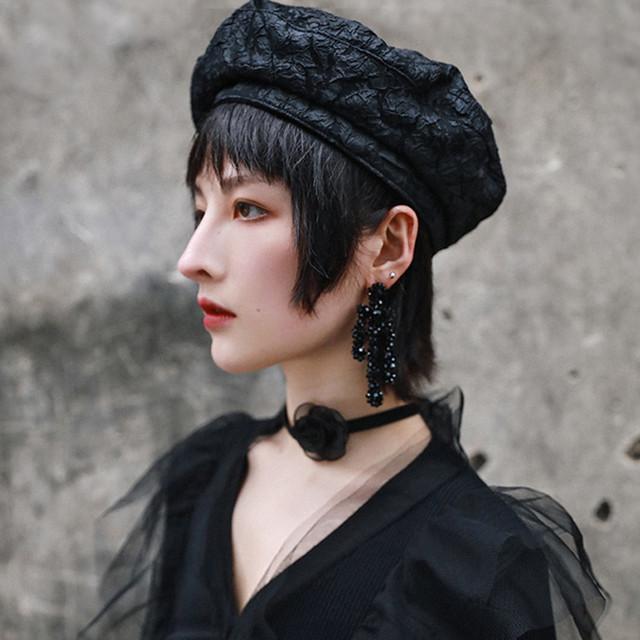 【大青龍肆シリーズ】★レディース帽子★ ベレー帽 ファション ブラック 黒い オリジナル 合わせやすい