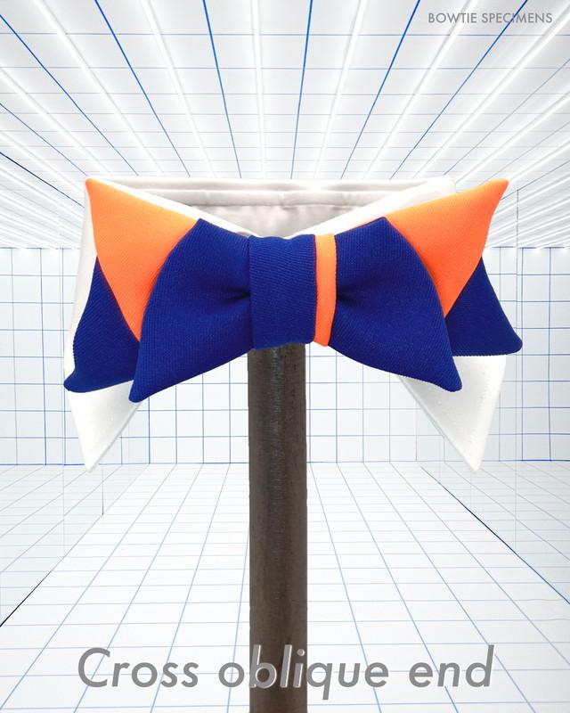 クロス・オブリークエンド(ブルー×ネオンオレンジ) 作り結び型(フック型)