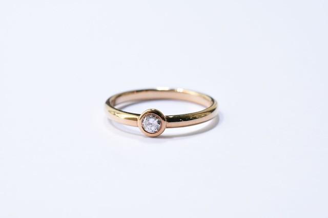 One ダイヤモンドリング(ベゼル) 0.096ct  / K18YG