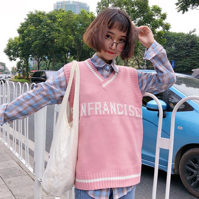 【tops】ファッションルーズアルファベットプリントVネックベスト