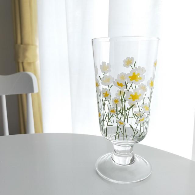 【送料無料】即納 デイジーグラス|花柄 ガラス 透明 韓国インテリア 韓国雑貨