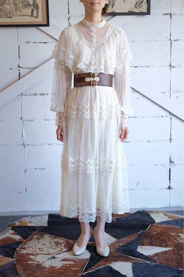 1970s ruffle lace dress