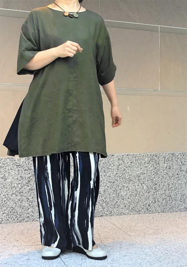 麻混 Aラインチュニック【203-7155】