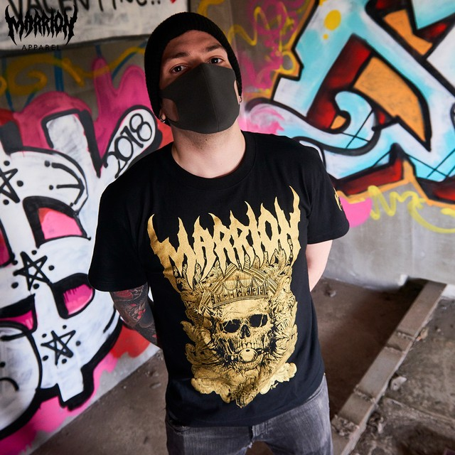 【Cotton100%】DEATH MARRION TEE  (Black×Gold)