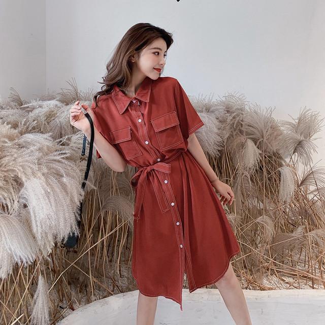 【dress】半袖ファッション折り襟シングルブレストカジュアルワンピース