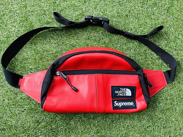 Supreme 17AW × THE NORTH FACE LEATHER WAIST BAG RED JJ9359