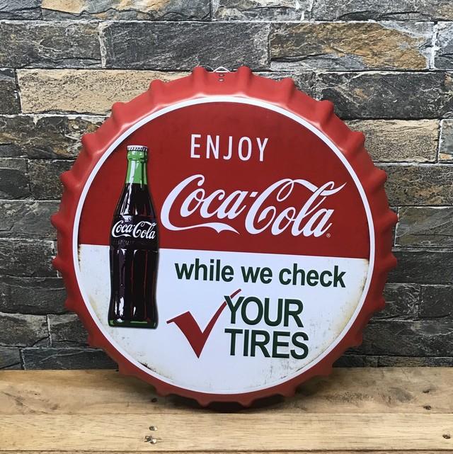 コカコーラ クラウンキャップ   壁掛け インテリア雑貨 缶 ブリキ こーら cola cocacola こかこーら