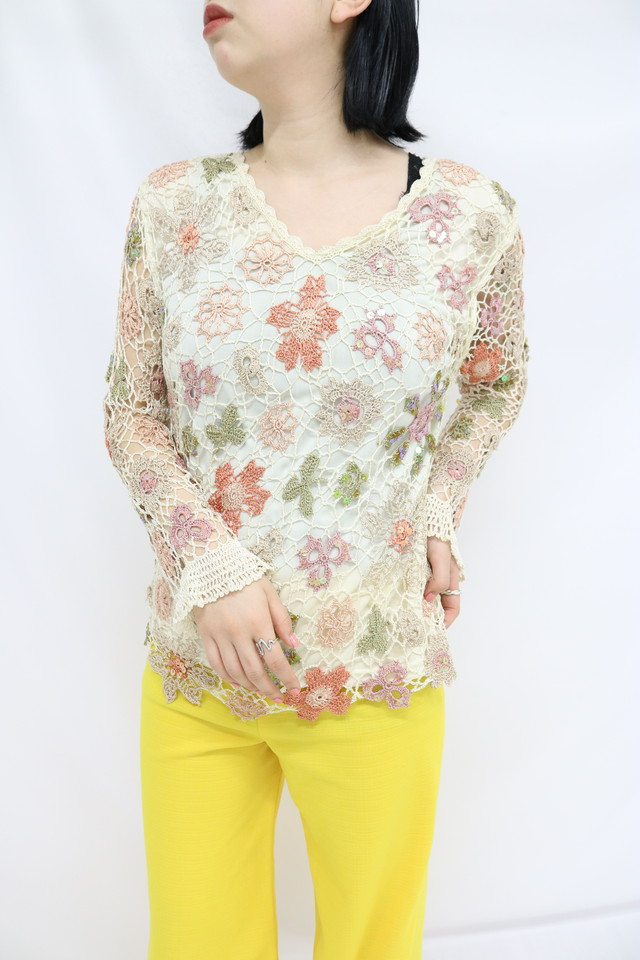 flower pattern mesh tops / 5SSTP08-06