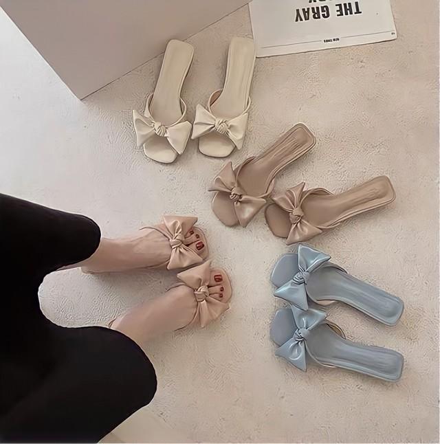 leather ribbon sandal 4color