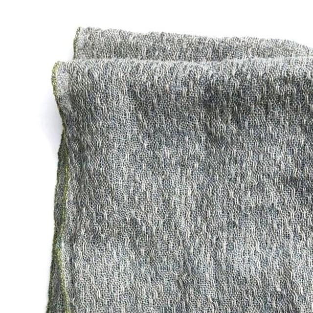 齋藤伸絵 麻のレース織りマフラー(薄藍色)