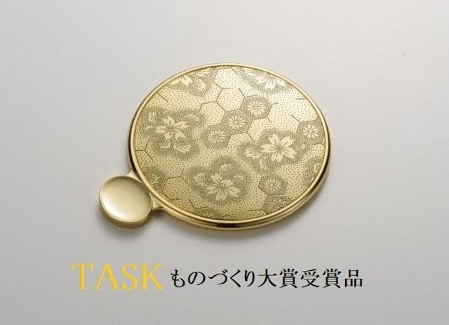 カタガミメタル手鏡Sゴールド 亀甲に桜 KA-150G/KiSa