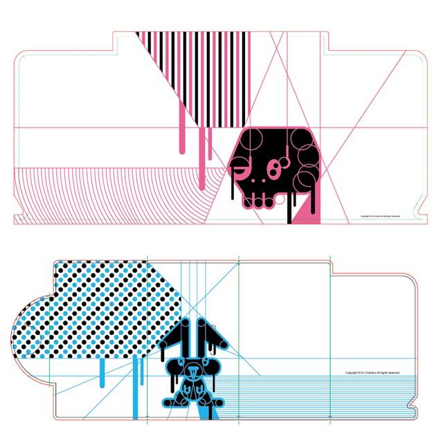 """マスクケース(2枚セット):ロケット・ジャック「""""毒 DOKU""""pink」「""""毒 DOKU""""blue」"""