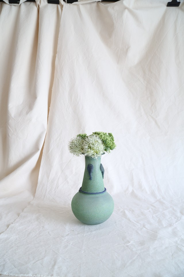 Emerald Glass Cast In Sand Flower Vase