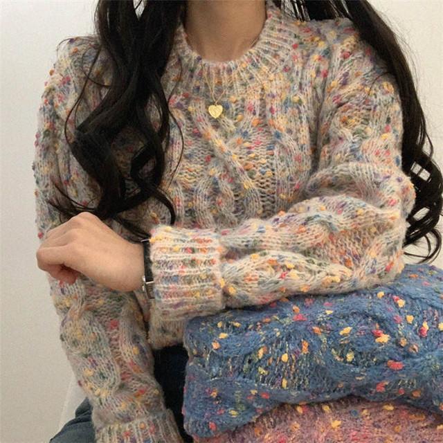 【韓国レディースファッション】 5920 大人可愛い ざっくり 丸首 ニット ミックスカラー セーター トップス 送料無料