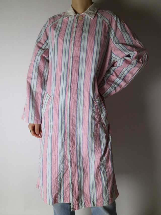 stripe pattern shirt long jacket【0880】
