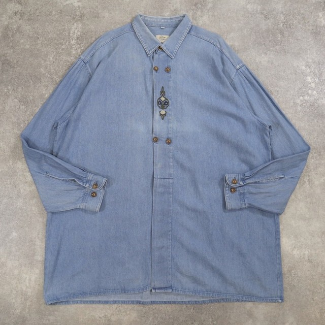 embroidery denim tyrolean shirt