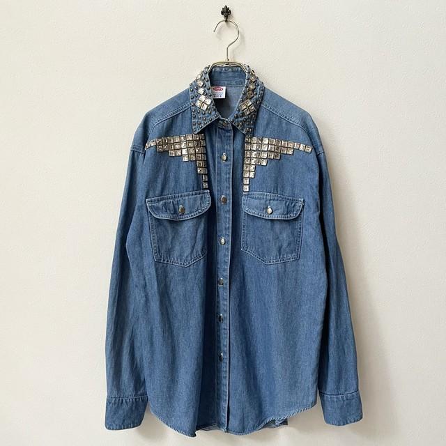 A&R CLOTHING 80〜90年代 USA製 デザイン デニムシャツ 古着 日本M〜L