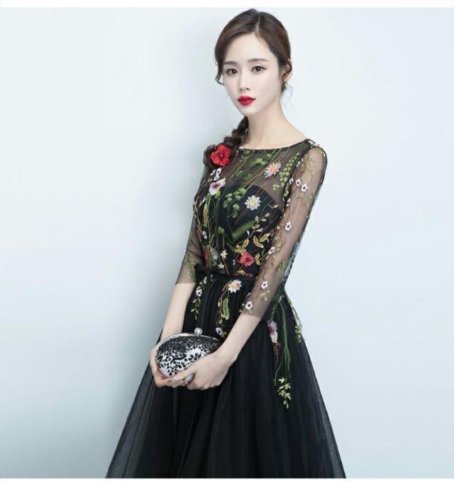 <予約>ブラック 花刺繍 シースルー オーガンジー パーティドレス 二次会 卒業式 演奏会 ドレス
