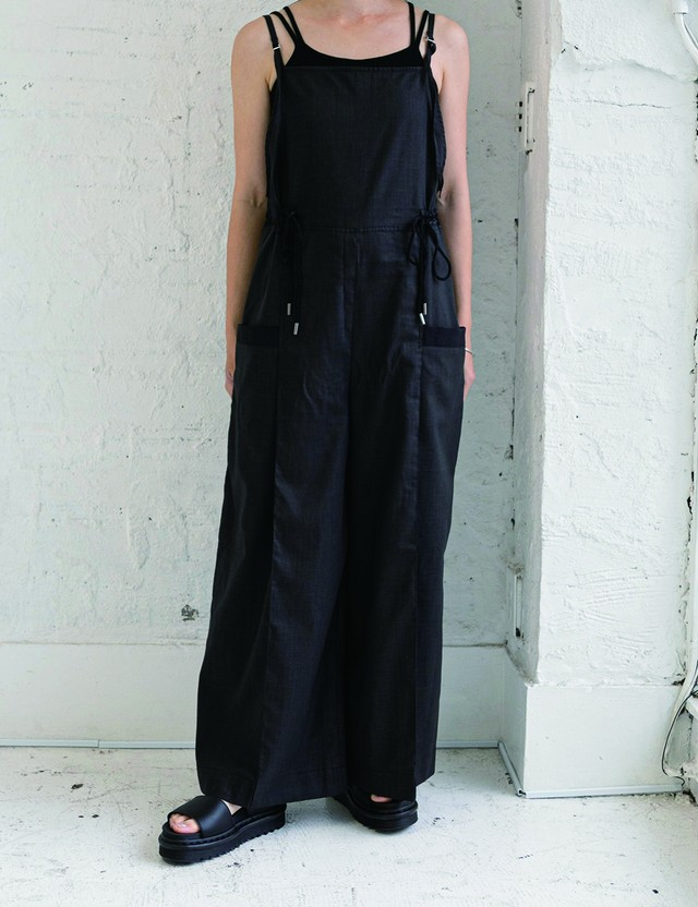 Cotton linen  overalls / Black