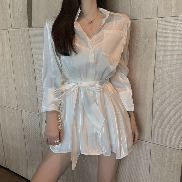 P6142 セットアップ 上下 2点 セット シャツ ブラウス 長袖 長袖シャツ ロング丈 無地 きれいめ 上品 フェミニン 韓国ファッション