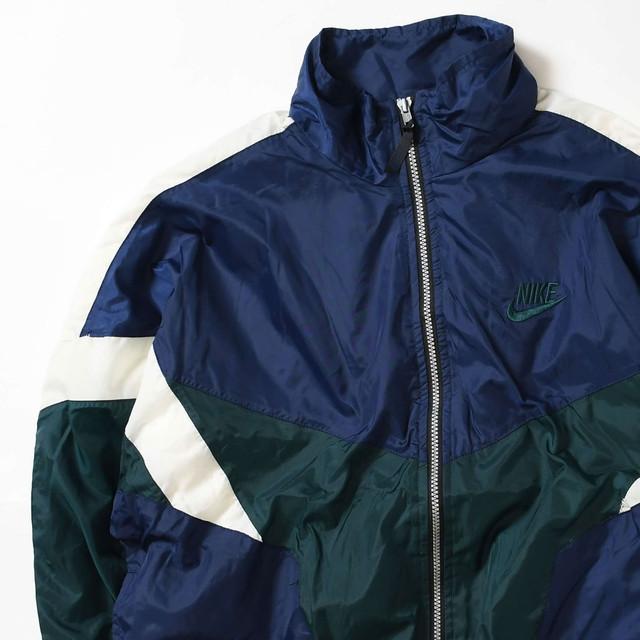 【Mサイズ】 NIKE ナイキ LOGO NYLON JACKET ナイロンジャケット NAVY GREEN 400610191011