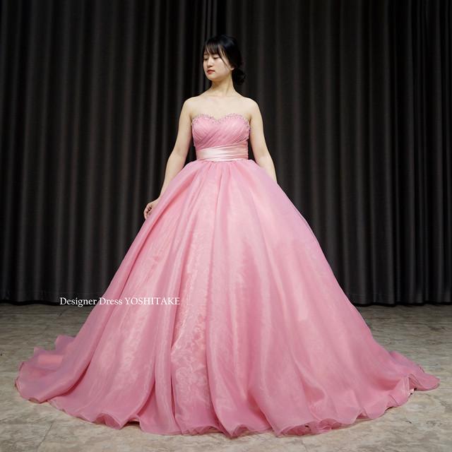くすみピンクオーガンジーウエディングドレス(パニエ付)/挙式/フォト婚/演奏会