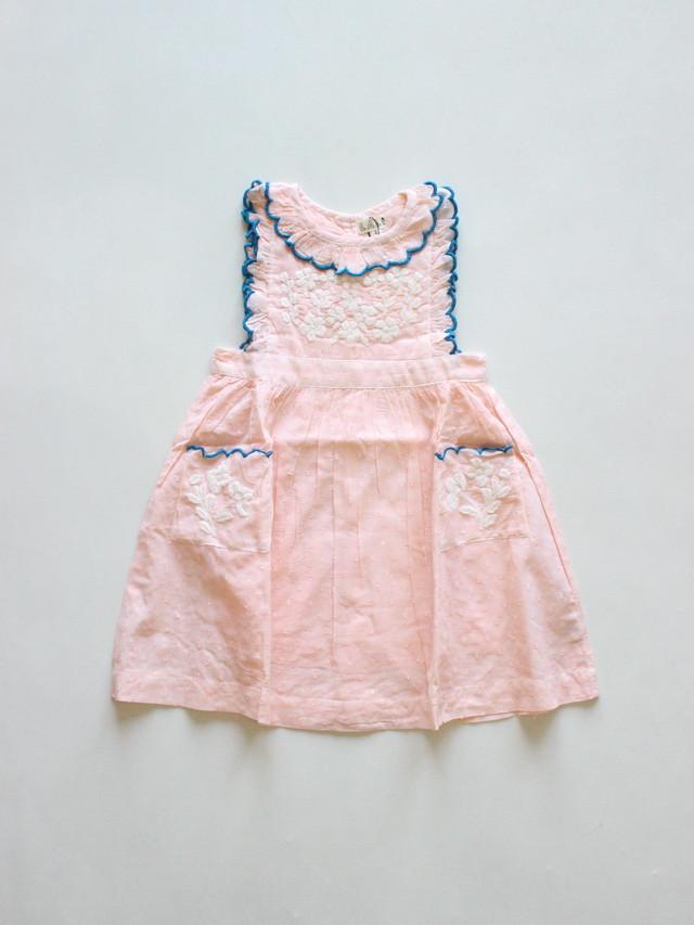 Lali  Clover dress hand embroidered pink Swiss dot  Drop1