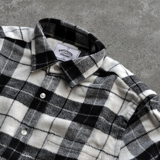 Portuguese flannel shirt - black × white check-