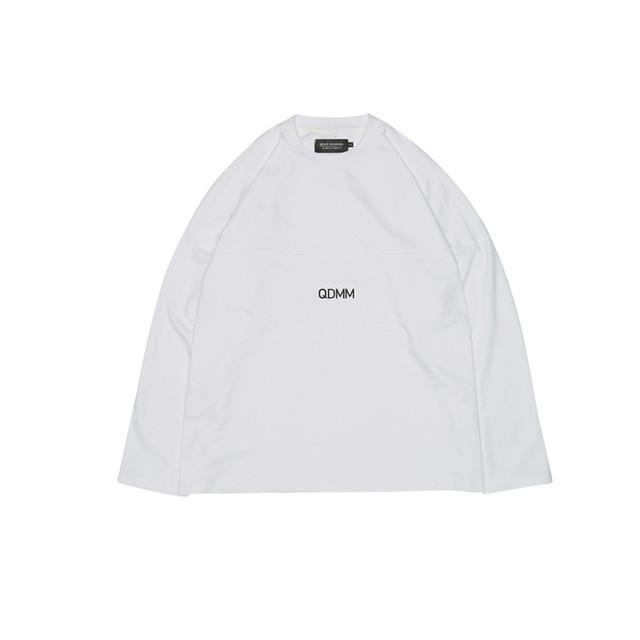 QDMM logo D-shoulder Longsleeve ロングスリーブ カットソー ホワイト