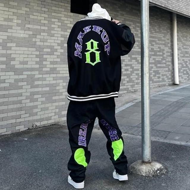 【ボトムス】ハート図柄プリントオーバーサイズストリート系ファッションデニムパンツ48110935