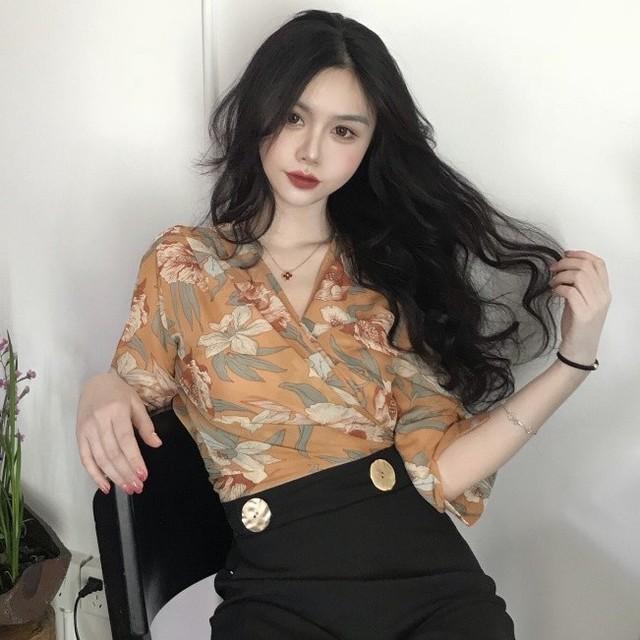 【tops】ファッションボウタイVネックシフォンプリント七分袖シャツ/ブラウス
