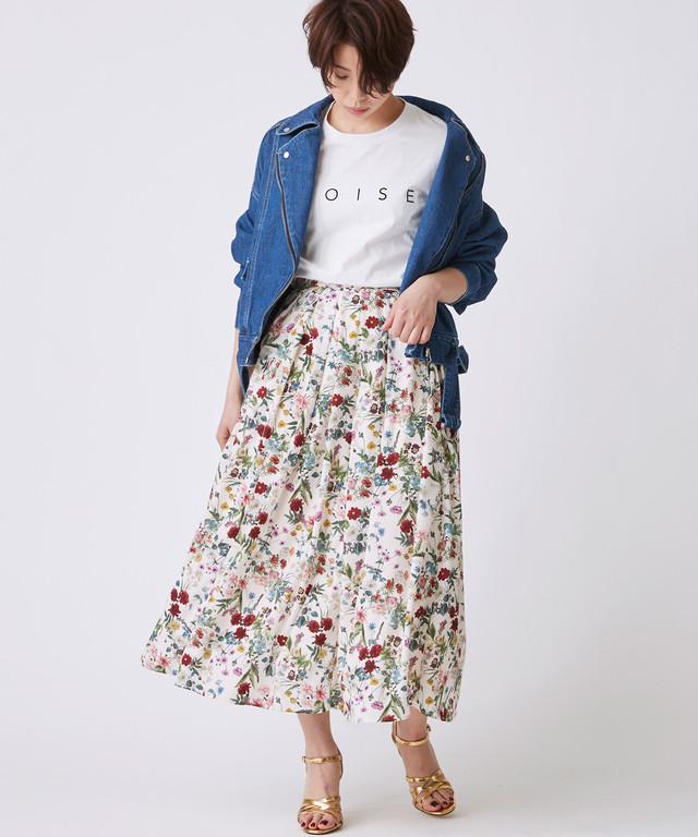 ボタニカル花柄スカート(アイボリー)