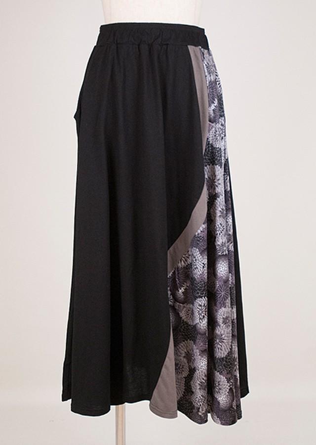 gouk 和柄と配色生地を切り替えたカットソーのスカート 黒 GGD27-S079 BK/M