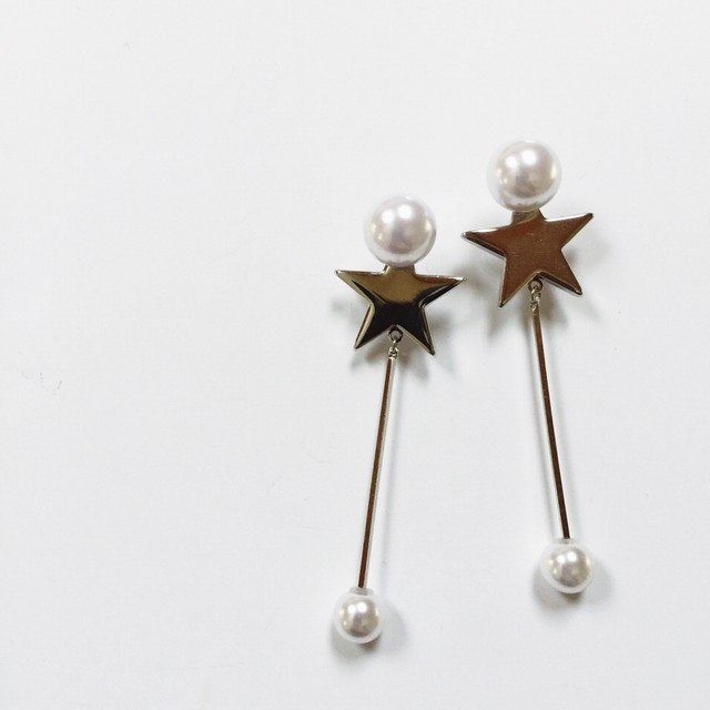 STAR with swing pearl p/e silver