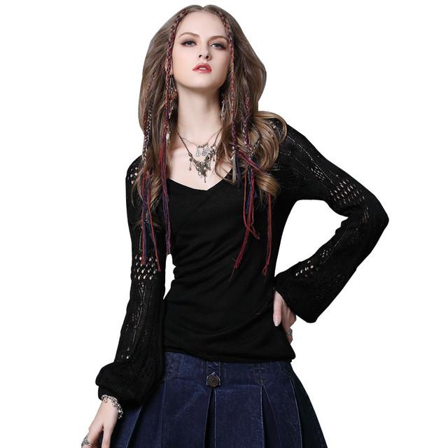 袖透かし編み カットソー ブラック 長袖 Z019