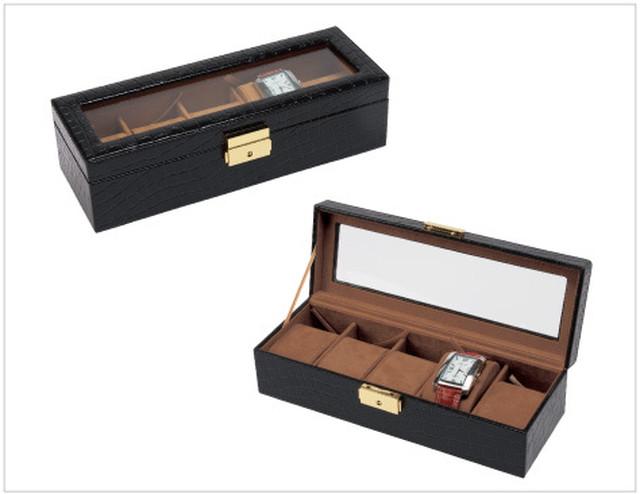 時計コレクションケース クロコ調生地 5本収納 W-3000