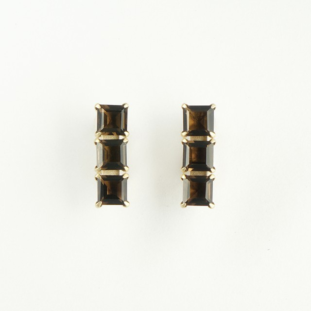 Smoky quartz three squares earring