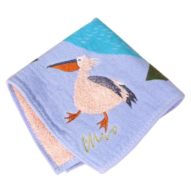 新商品《鳥/ペリカン》 ハンカチ 湖畔ペリカン morita MiW ガーゼパイルハンカチ モコモコドウブツハンカチ 綿100% 刺繍