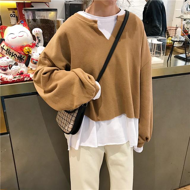 【tops】Tシャツ長袖配色切り替えフェイクレイヤードラウンドネックルーズ