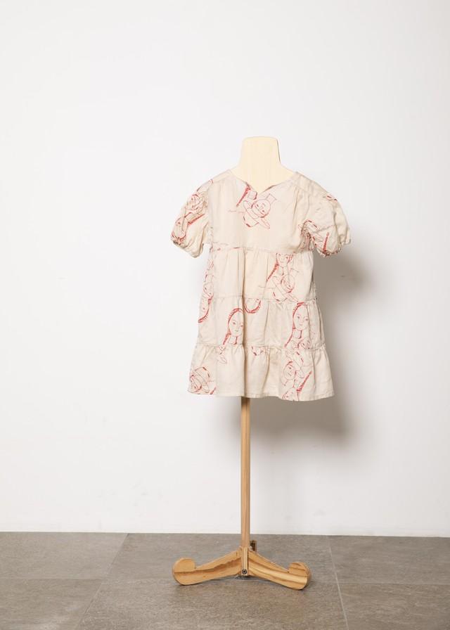 【21SS】folkmade(フォークメイド) face print dress ワンピース beige(S/M/L)