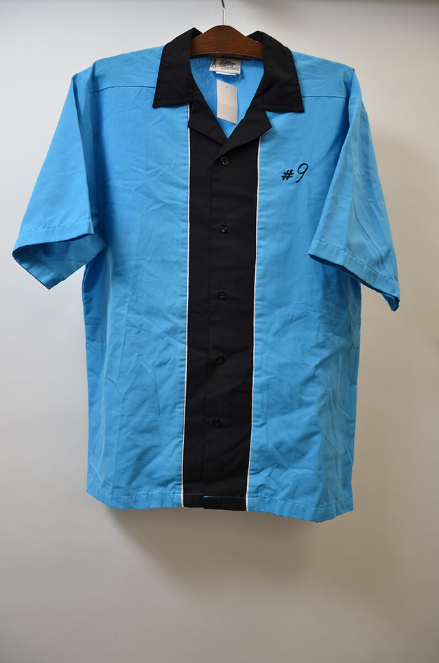 【Mサイズ】 CRULSIN USA BOWLING SHIRT ボーリングシャツ  BLUE/BLACK ブルー ブラック 400602190649