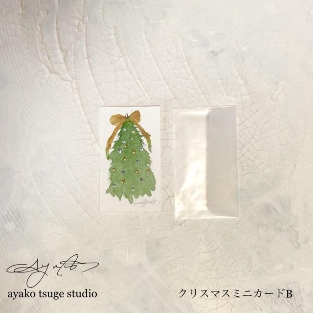 手描き クリスマスミニカードBと木のカード立てセット