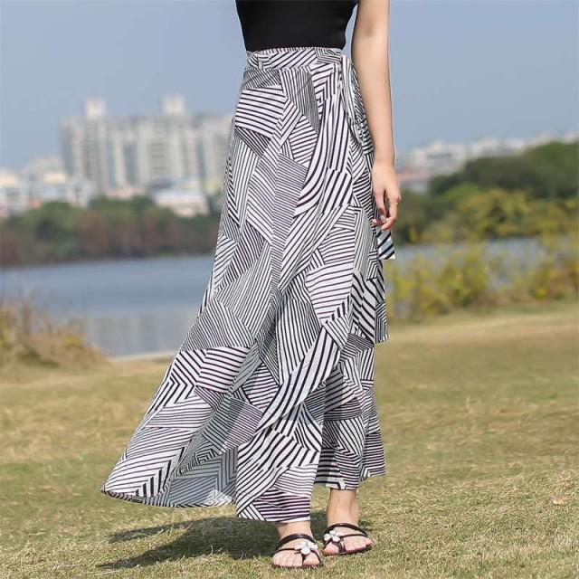 スカート ロングスカート 大きいサイズ マキシ 巻きスカート ラップスカート レディース ロングスカート柄 春 夏 黒